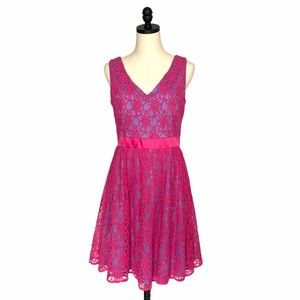 Adrianna Papell Satin Lace Cocktail Dress SZ 8